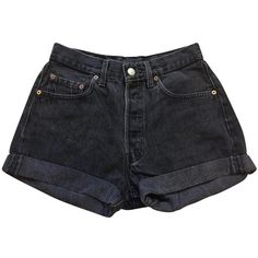 Black Denim Jeans Shorts LEVI'S VINTAGE CLOTHING (180 PEN) ❤ liked on Polyvore featuring shorts, bottoms, jean shorts, short denim shorts, short jean shorts, levi shorts and denim shorts
