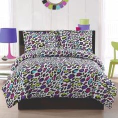 Livin Large Leopard Print Comforter & Sham Set - bright, bold and perfect for a teen girl's room.  Can you say sassy dorm room?  Love it!