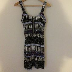 Pattered half zip dress black & white, multi patterned dress with blue and orange, straight dress but not tight, only worn once, small but fits like extra small perfect condition Dresses
