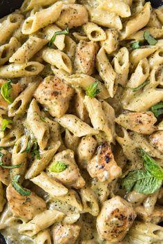 Creamy Chicken Pesto Pasta | YellowBlissRoad.com Creamy Pesto Pasta, Pesto Pasta Recipes, Asparagus Pasta, Chicken Pasta Recipes, Pesto Chicken, Basil Pesto, Pasta Dinners, Dinner Recipes, Easy Recipes