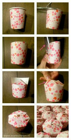 A mini box made from a paper cup. Perfect for party take aways/ treat bags.