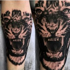 tigerkopf tattoo, arm, armtattoo, tätowierung in schwarz und weiß