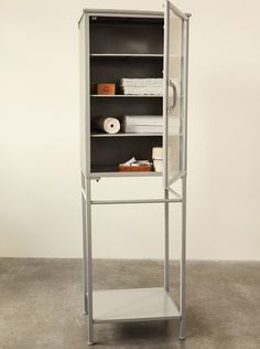 Industrial Tin and Glass Cabinet
