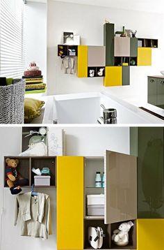 Sectional MDF wall cabinet SLIM by Cerasa #bathroom