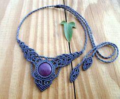 Ruby macrame necklace, macrame jewelry, gemstone necklace, macrame stone, tribal necklace, micro macrame, healing jewelry, elven jewelry