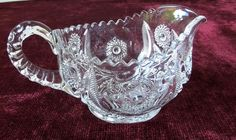 SEXTEC CREAMER PITCHER SIGNED PRES-CUT MCKEE EAPG ANTIQUE GLASS PRESSED PATTERN