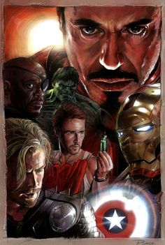 The Avengers by Nick Runge *. Very cool picture except for Edward Norton. Mark Ruffalo is in the Avengers. Duh!