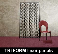 TRIFORM-laser-cut-metal-panels-in-BLACK-with-red-chair – laser cut screens for architectural and home interiors