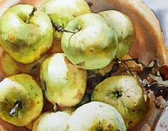 Rustic apples in bowl