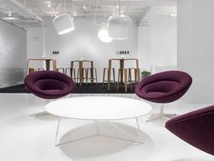Ora Chairs from Davis Furniture - shown with Stem Table - back area is Tre Bar Table with Tre Barstools Office Interior Design, Office Interiors, Davis Furniture, Contract Furniture, Office Workspace, Workspaces, Industrial Furniture, Offices, Bar Stools
