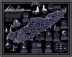 Lake Erie Graveyard of the Great Lakes Poster by Poster Art USA Great Lakes Shipwrecks, Catawba Island, Great Lakes Ships, Fort William, Lake Erie, Lake Superior, Lake Michigan, Water Crafts, Cartography