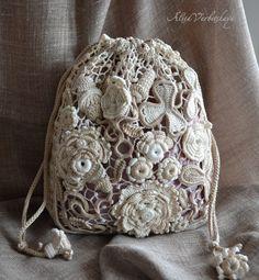 Bag, pouch bag, cosmetic bag, Irish crochet, lace, purse, boho, retro, photo…