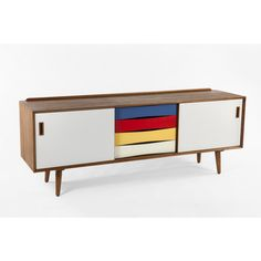 The Tander Mid Century Credenza with Multi Colored Drawers 3