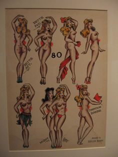 Pin ups tattoo by Sailor Jerry  Side on showing chest breast profile feet together perhaps one skate on toestop.