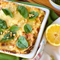 Lemon Ricotta Lasagna with Pan Roasted Baby Artichokes and Basil Pesto