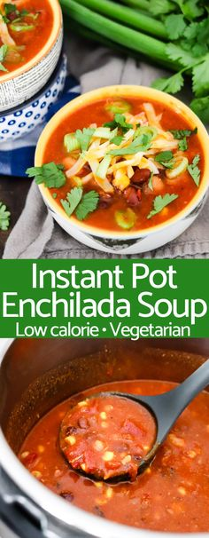 Instant Pot Enchilada Soup is hearty and delicious, yet low calorie and vegetarian. Most of the ingredients are pantry staples, and it's very inexpensive as well! See options to add meat as well as cook on the stove top or in the slow cooker!