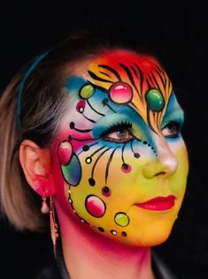 Face Paint Makeup, Makeup Art, Eye Makeup, Halloween Makeup Clown, Maquillaje Halloween, Ethereal Makeup, Adult Face Painting, Up Hairdos, Fantasy Make Up