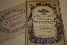 Vintage Wedding Invitation with RSVP Sample от anistadesigns