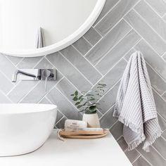 gray herringbone tiling, classic bathroom design