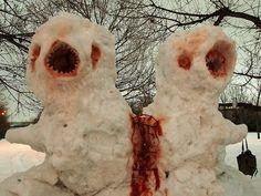 horrorandhalloween:   Creepy snowmen - I worship Glenn Danzig | weirdhorror