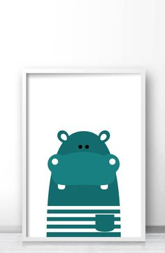 Hippo Nursery Art Animal Print Instant Kids Printable Wall