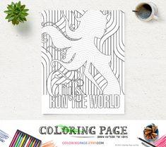 #RunTheWorld #Beyonce #ColoringPage #PrintableArt #Zen Instant Download #DigitalArt