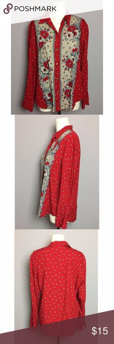 Liz Claiborne Red Floral Button Up Shirt In very good condition with one small stain shown in photos, relaxed fit, light weight, no stretch, all working buttons  100% Rayon  Size L Laying Flat: Width 23 in Length Shoulder to Hem - 27 in Bicep 8 in Liz Claiborne Tops Button Down Shirts