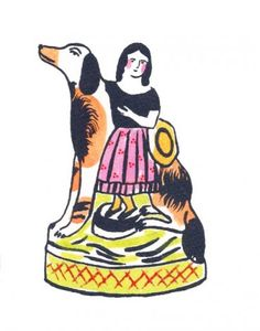 staffordshire girl & dog - laura knight