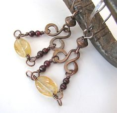 Garnet Citrine Chandelier Earrings Gothic Jewelry Hand Forged Jewelry