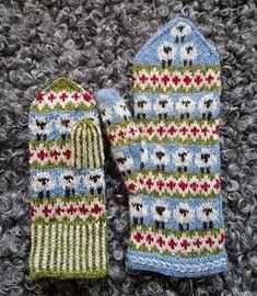 Crochet Baby Mittens Ravelry: Sheep mittens pattern by Anita Viksten - Baa baa! Knitted Mittens Pattern, Knit Mittens, Knitted Gloves, Baby Knitting Patterns, Crochet Patterns, Baby Mittens, Motif Fair Isle, Crochet Baby Blanket Beginner, Crochet Classes