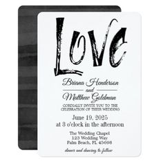 Black and White Wedding Invitation Typography - wedding invitations cards custom invitation card design marriage party