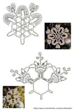 Игрушки крючком: снежинки на елку