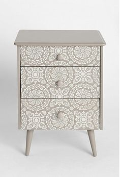 lace stencil gray white nightstand dresser drawer- possibly stencil on the top of my nightstands