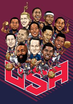Artist Michael Borkowski from Syracuse, New York was hired by Duke to illustrate Coach K and the 2014 FIBA Gold Medal winning USA Basketball team.