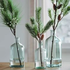 Christmas Vases, Christmas Greenery, Farmhouse Christmas Decor, Christmas Home, Christmas Interiors, Woodland Christmas, Christmas Crafts, Deco Noel Nature, Natal Natural