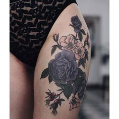 Picture Of moody dark flower thigh tattoo ❤ liked on Polyvore featuring accessories and body art
