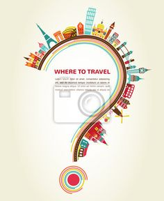Wall Mural where to travel, question mark with tourism icons and elements - map • PIXERSIZE.com