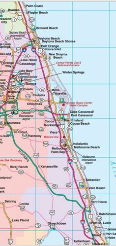 Southeast Florida road map showing main towns cities and highways