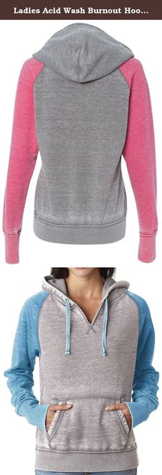 "Ladies Acid Wash Burnout Hoodie, 2XL Cement/Oceanberry. A mix of color, blended with burnout, take this pullover to new heights. Superior Cotton/Poly blend. Modern ""burnout"" style. Cut ""v"" neckline."