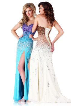 3fe1eef1286 Fully-beaded chiffon gown with corseted back
