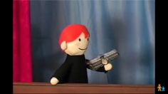 Potter Puppet Pals. -Ron Weasley with a pipe bomb.