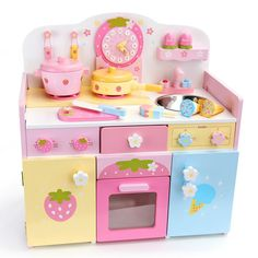 Rakuten: Toy pastel ticktack kitchen of the mother garden wooden toy playing house kitchen set Wild Strawberries tree - Shopping Japanese products from Japan