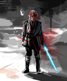 "Star Wars - Anakin Skywalker ""May the Force be With you!"" by Eli Hyder Anakin Vader, Anakin Skywalker, Darth Vader, Star Wars Concept Art, Star Wars Fan Art, Star Wars Painting, Star Wars Episode 2, Star Wars Halloween, War Film"