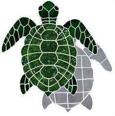 """Shadow Large Green Turtle Mosaic Tile Image 25""""x24"""" Mosaic Tile Designs, Ceramic Mosaic Tile, Mosaic Art, Mosaic Glass, Glass Art, Cement Tiles, Wall Tiles, Sea Turtle Quilts, Sea Turtle Art"""