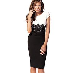 Women's Embroidered Lace Bodycon Midi Dress