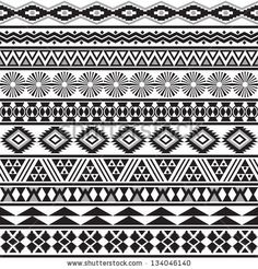 Tribal striped seamless pattern. Geometric black-white background. Swatches of seamless pattern included in the file. by Vodoleyka, via ShutterStock