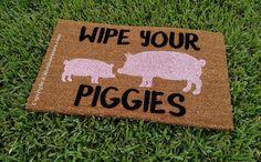 Wipe Your Piggies Custom Cute Pig Handpainted Welcome Doormat by Killer Doormats - Small - Handmade