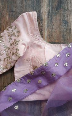 Organza gota patti saree with contrasting blouse available on www.labelkanupriya.com