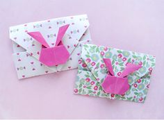 Pretty Origami Bunny Envelopes