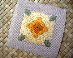 4 way bargello needlepoint, abstract flower